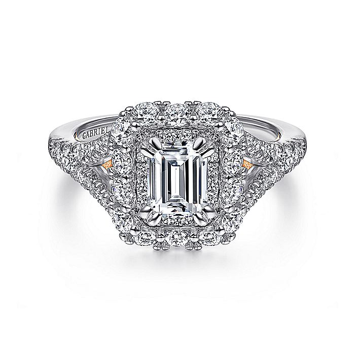 14K White-Rose Gold Double Halo Emerald Cut Diamond Engagement Ring