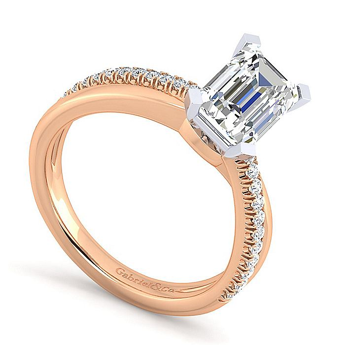 14K White-Rose Gold Emerald Cut Diamond Criss Cross Engagement Ring