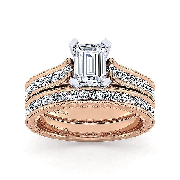 14K White-Rose Gold Emerald Cut Diamond Engagement Ring