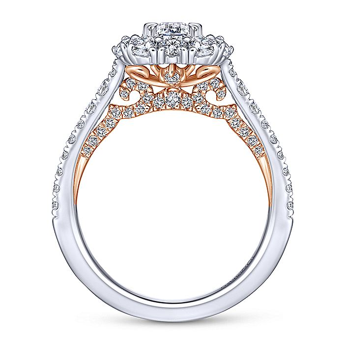 14K White-Rose Gold Emerald Cut Diamond Engagement Ring
