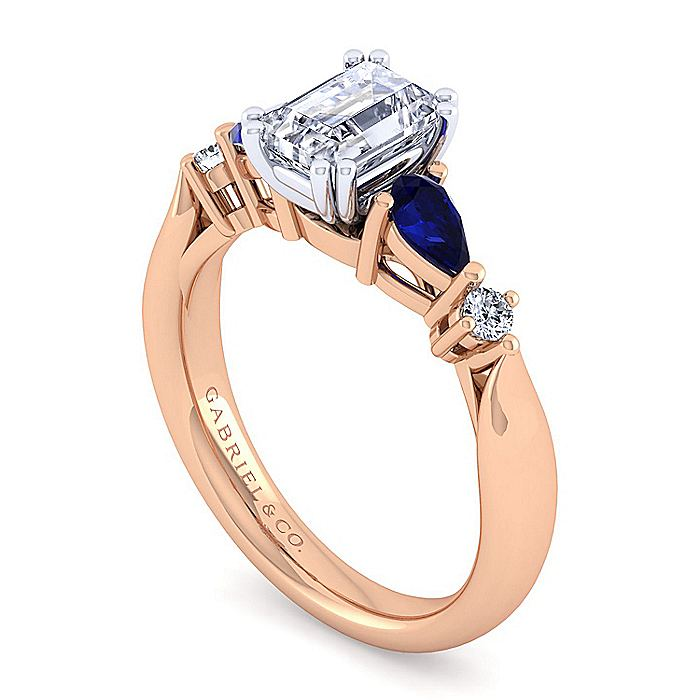 14K White-Rose Gold Emerald Cut Five Stone Sapphire and Diamond Engagement Ring