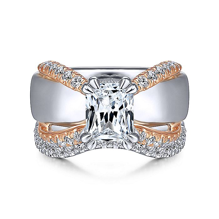 14K White-Rose Gold Emerald Diamond Wide Band Engagement Ring