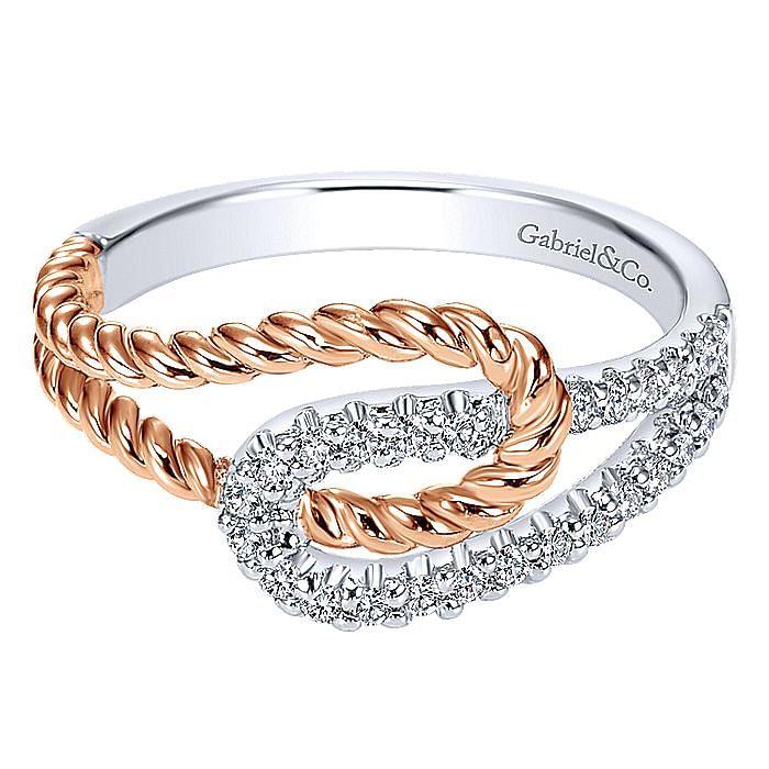 14K White-Rose Gold Fashion Ladies Ring