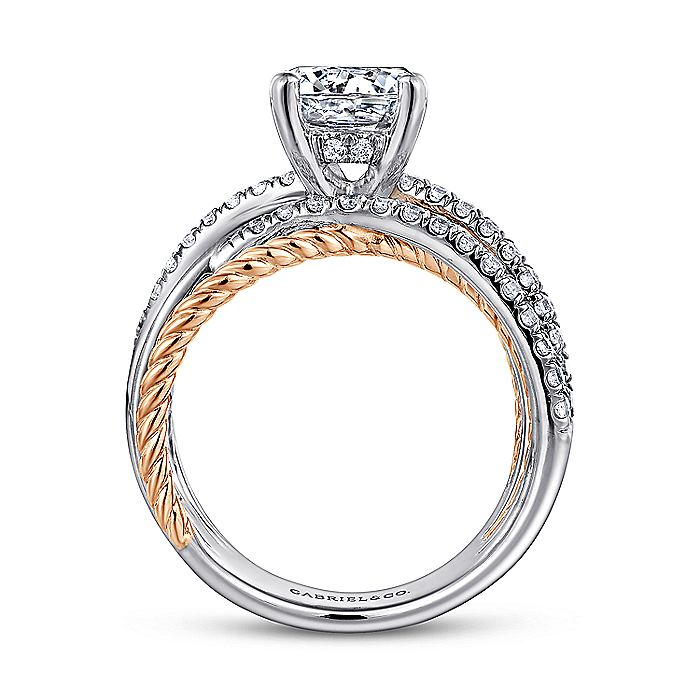 14K White-Rose Gold Free Form Round Diamond Engagement Ring