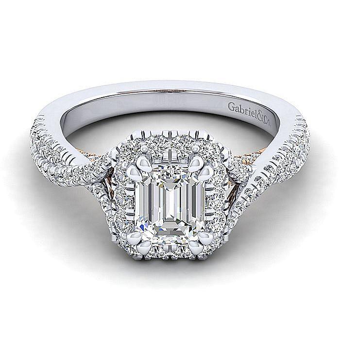 14K White-Rose Gold Halo Emerald Cut Diamond Engagement Ring