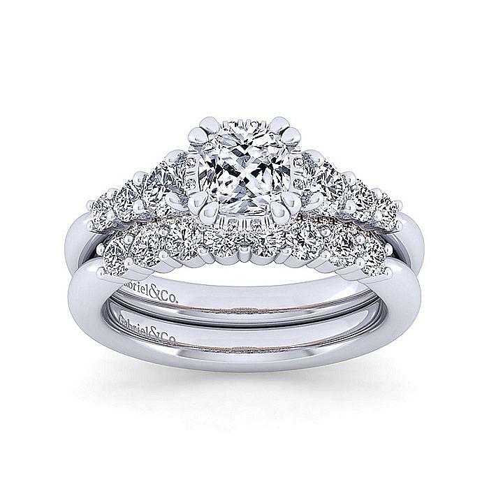 14K White-Rose Gold Hidden Halo Cushion Cut Diamond Engagement Ring