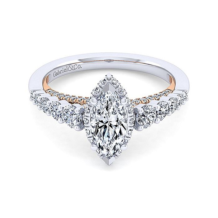 14K White-Rose Gold Hidden Halo Marquise Shape Diamond Engagement Ring