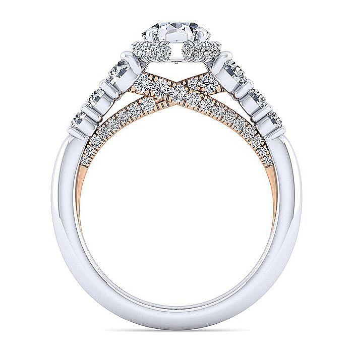 14K White-Rose Gold Hidden Halo Pear Shape Diamond Engagement Ring