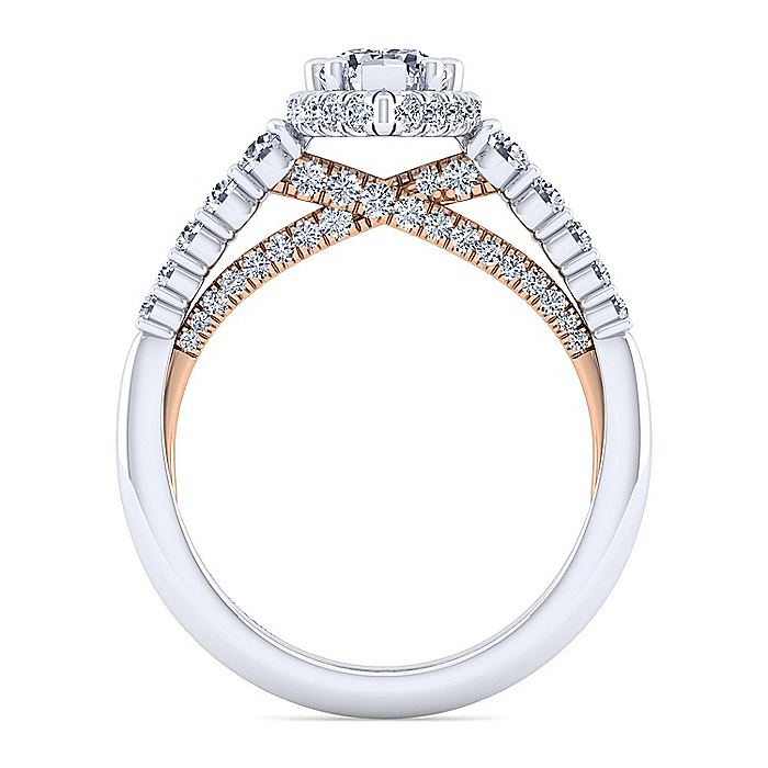 14K White-Rose Gold Hidden Halo Pear Shape Diamond Engagement Ring
