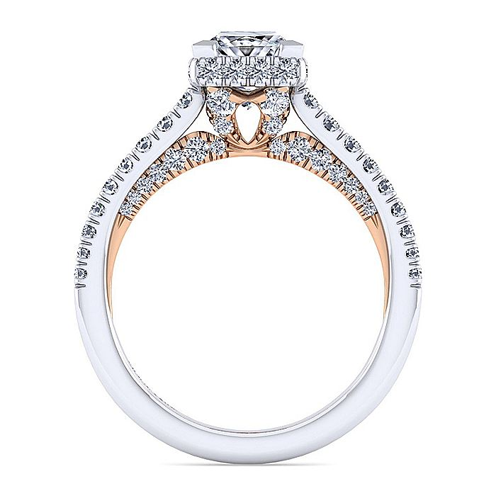 14K White-Rose Gold Hidden Halo Princess Cut Diamond Engagement Ring