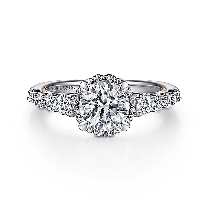 14K White-Rose Gold Hidden Halo Round Diamond Engagement Ring
