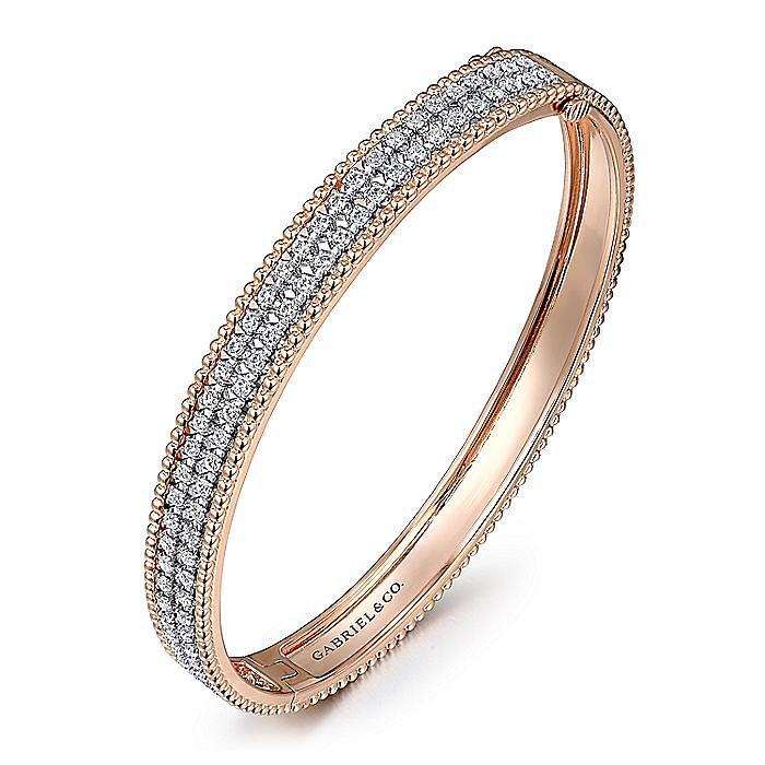 14K White-Rose Gold Hinged Diamond Bangle