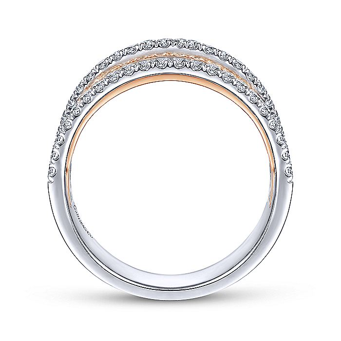 14K White-Rose Gold Layered Wide Band Diamond Ring