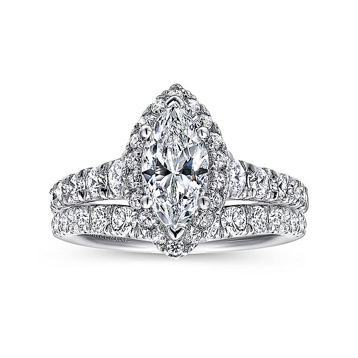 14K White-Rose Gold Marquise Halo Diamond Engagement Ring