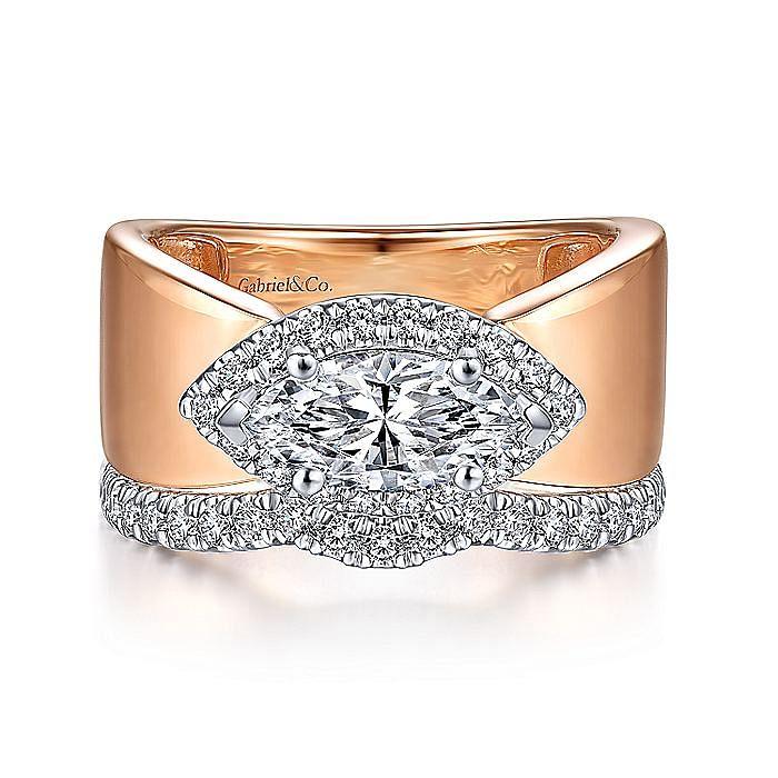 14K White-Rose Gold Marquise Halo Diamond Engagement Ring