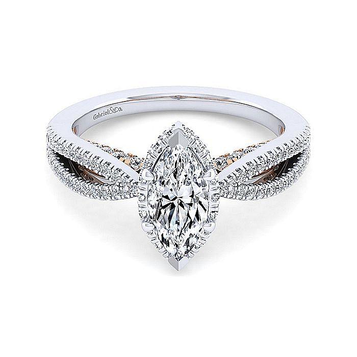 14K White-Rose Gold Marquise Shape Diamond Split Shank Engagement Ring