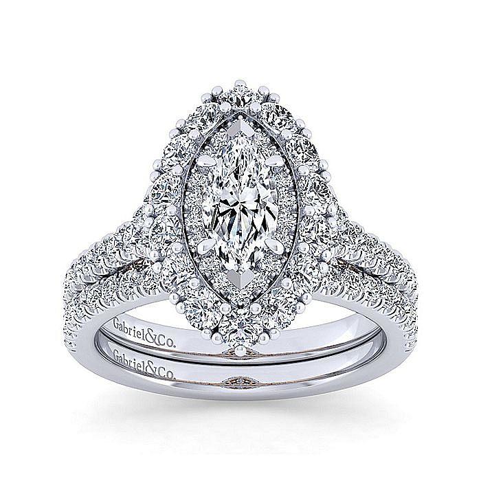 14K White-Rose Gold Marquise Shape Double Halo Diamond Engagement Ring