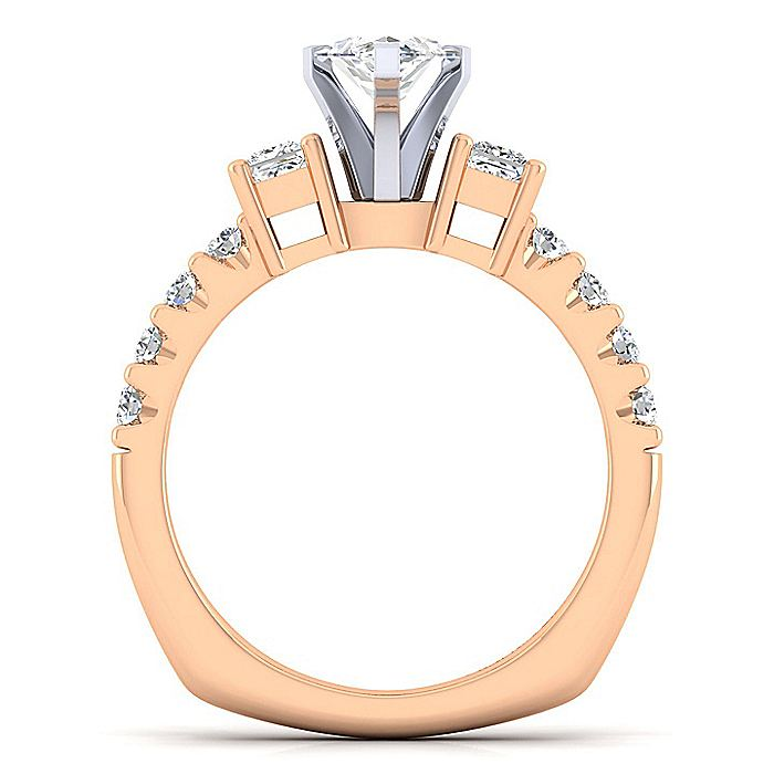 14K White-Rose Gold Marquise Shape Three Stone Diamond Engagement Ring