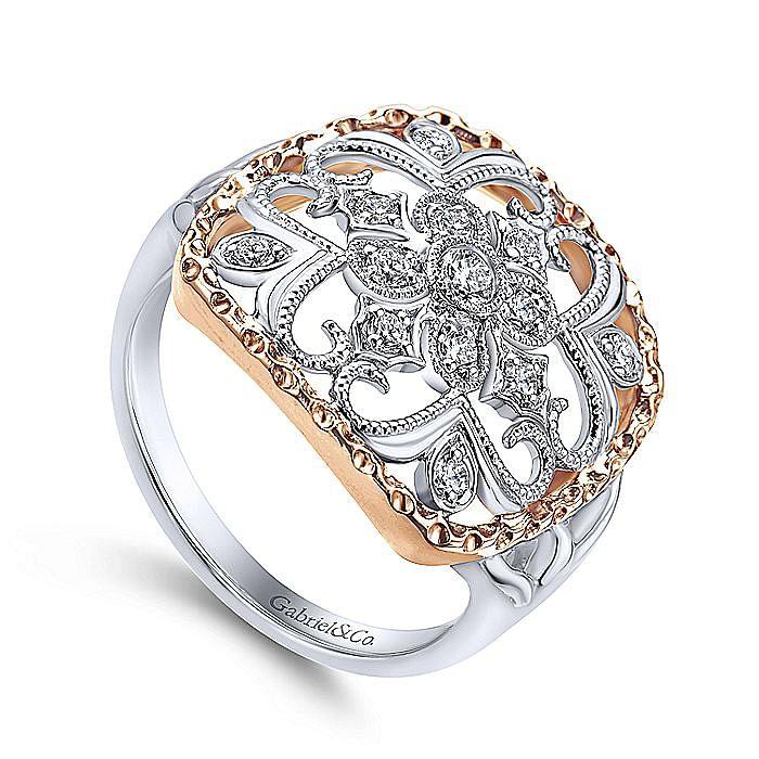 14K White-Rose Gold Openwork Quatrefoil Diamond Ring