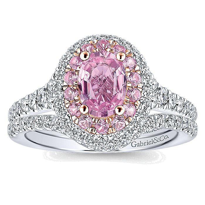 14K White-Rose Gold Oval Diamond Engagement Ring