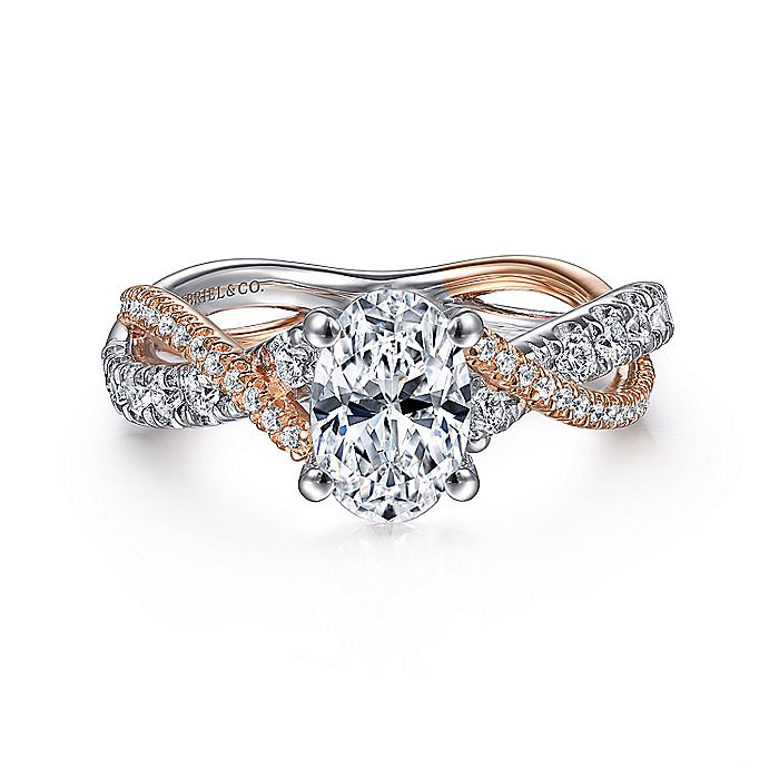 14K White-Rose Gold Oval Diamond Twisted Engagement Ring