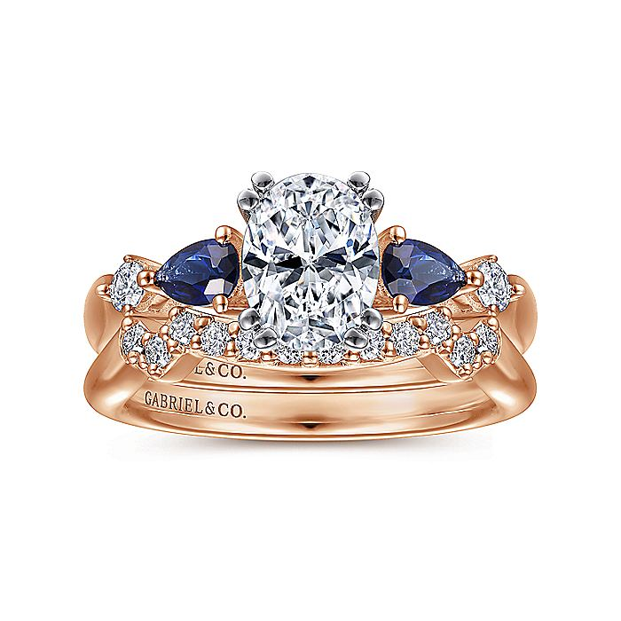 14K White-Rose Gold Oval Five Stone Sapphire and Diamond Engagement Ring
