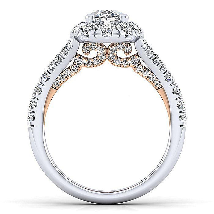 14K White-Rose Gold Oval Halo Diamond Engagement Ring