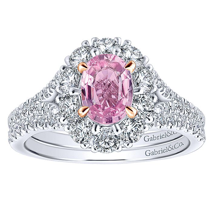 14K White-Rose Gold Oval Halo Pink Sapphire and Diamond Engagement Ring