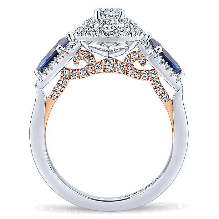 14K White-Rose Gold Oval Sapphire and Diamond Complete Engagement Ring