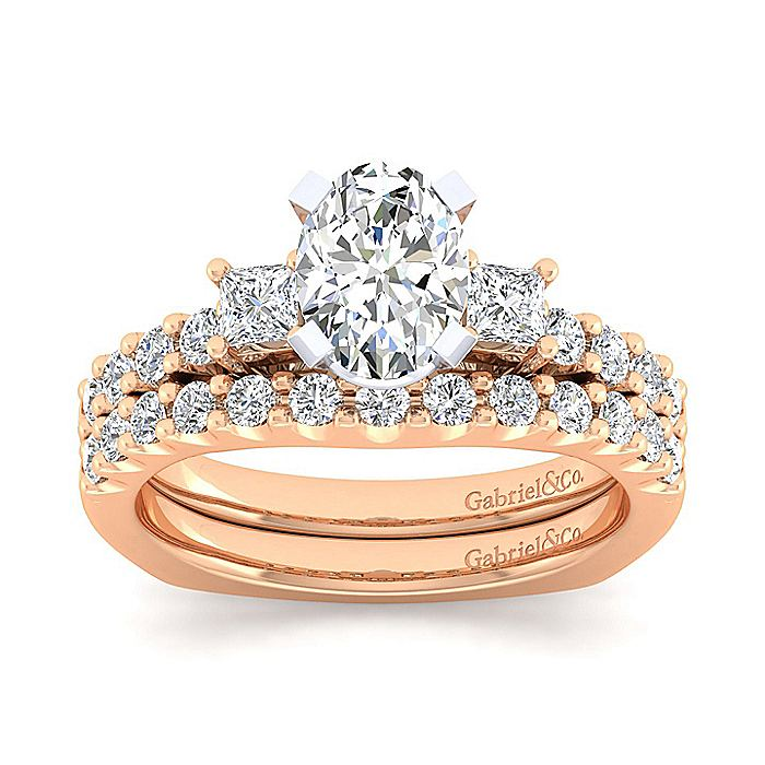 14K White-Rose Gold Oval Three Stone Diamond Engagement Ring