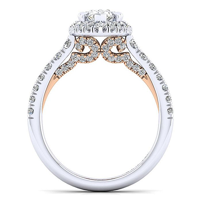 14K White-Rose Gold Pear Halo Diamond Engagement Ring