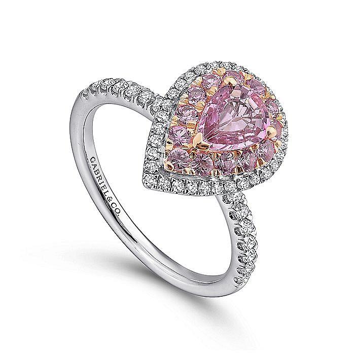 14K White-Rose Gold Pear Shape Complete Diamond Engagement Ring