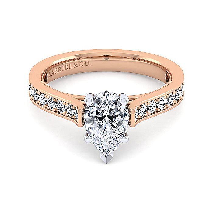 14K White-Rose Gold Pear Shape Diamond Engagement Ring