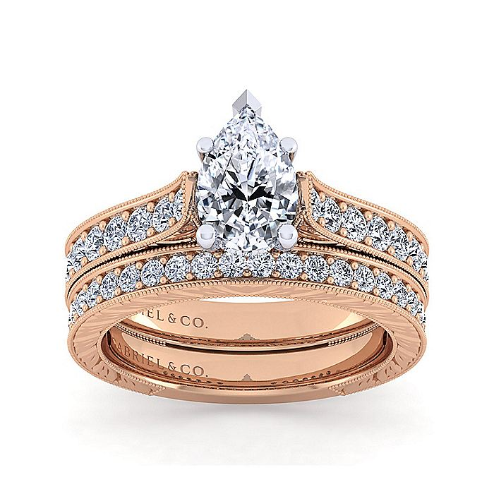 14K White-Rose Gold Pear Shape Diamond Engagement Ring