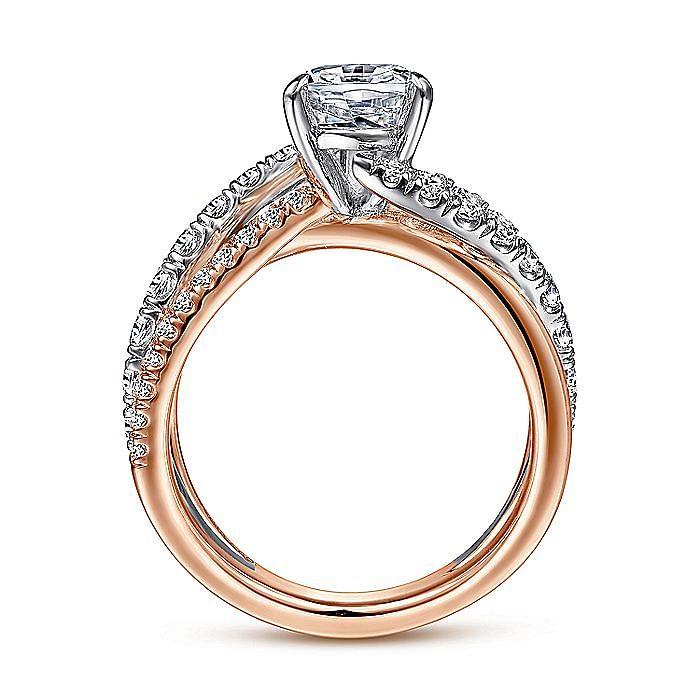 14K White-Rose Gold Pear Shape Free Form Diamond Engagement Ring