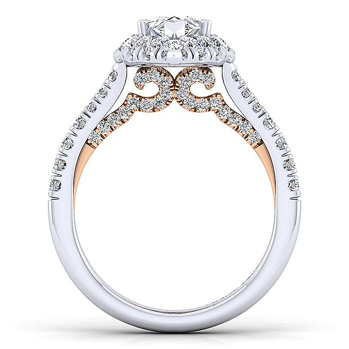14K White-Rose Gold Pear Shape Halo Diamond Engagement Ring