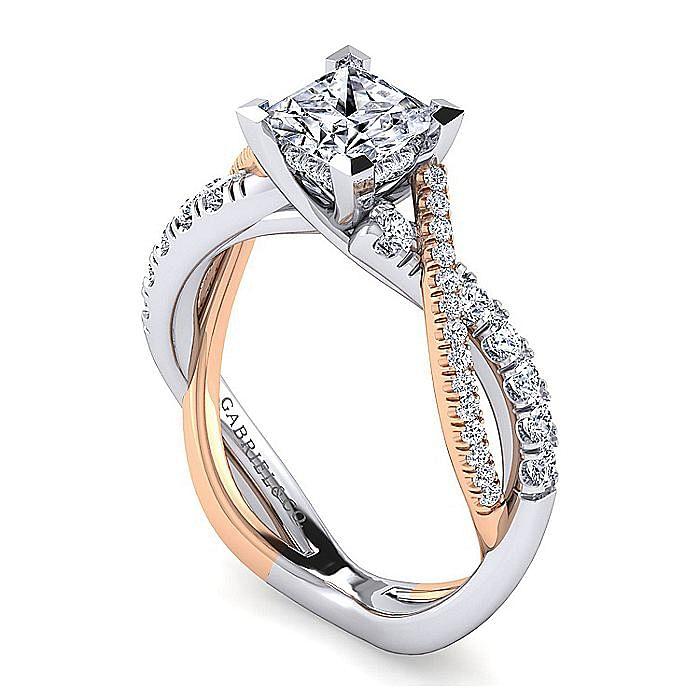 14K White-Rose Gold Princess Cut Diamond Twisted Engagement Ring