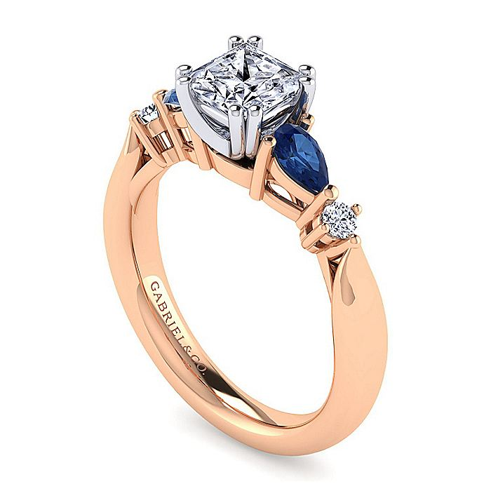 14K White-Rose Gold Princess Cut Five Stone Sapphire and Diamond Engagement Ring
