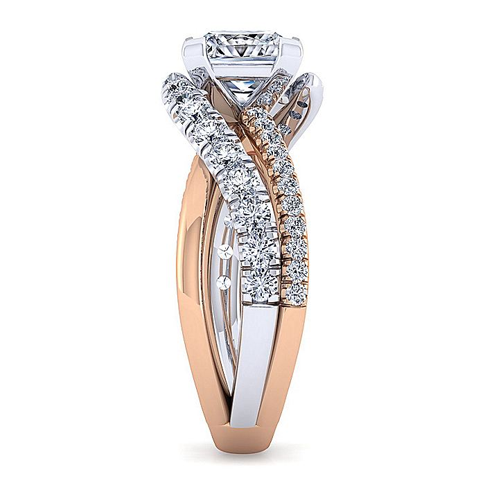 14K White-Rose Gold Princess Cut Free Form Diamond Engagement Ring
