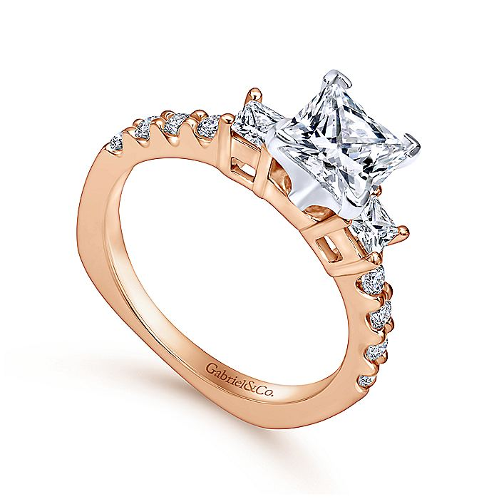 14K White-Rose Gold Princess Cut Three Stone Diamond Engagement Ring