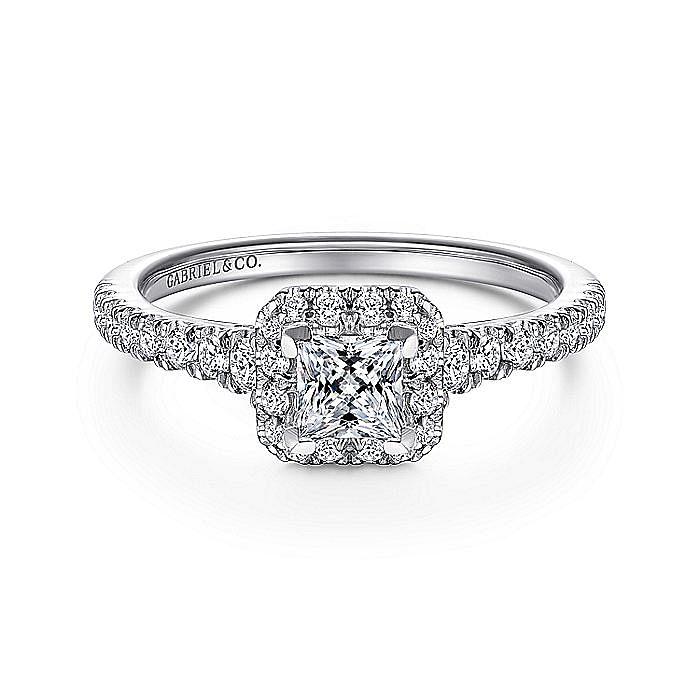 14K White-Rose Gold Princess Halo Complete Diamond Engagement Ring