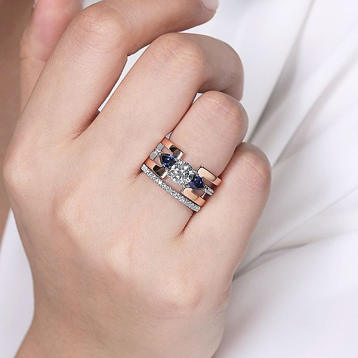 14K White-Rose Gold Round 3 Stone Sapphire and Diamond Engagement Ring