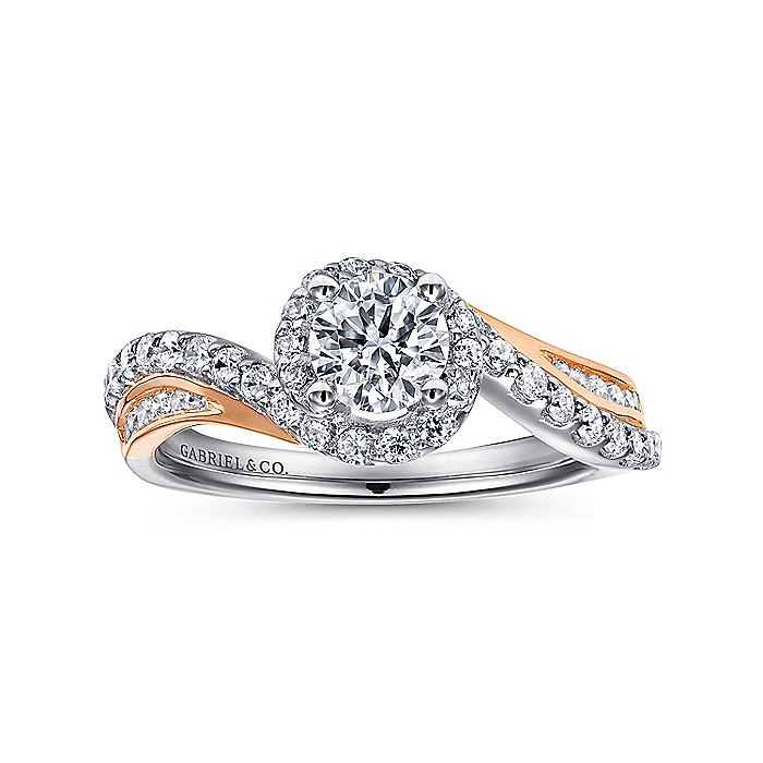 14K White-Rose Gold Round Bypass Diamond Engagement Ring