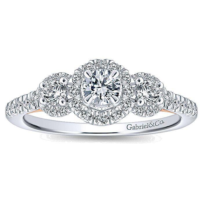 14K White-Rose Gold Round Complete Diamond Engagement Ring