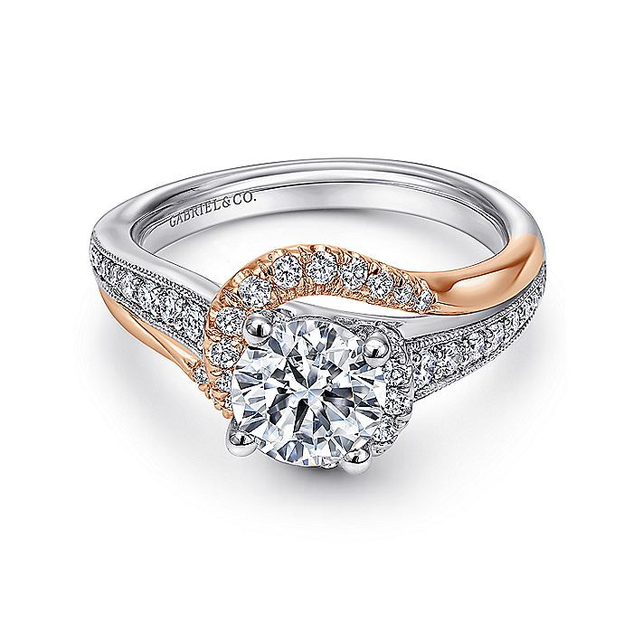 14K White-Rose Gold Round Diamond Bypass Engagement Ring