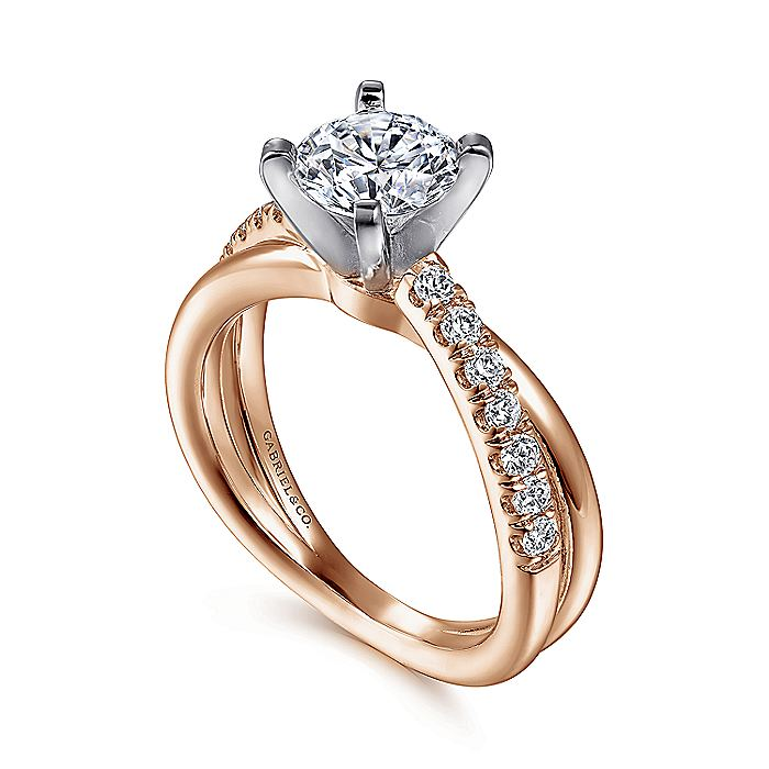 14K White-Rose Gold Round Diamond Criss Cross Engagement Ring