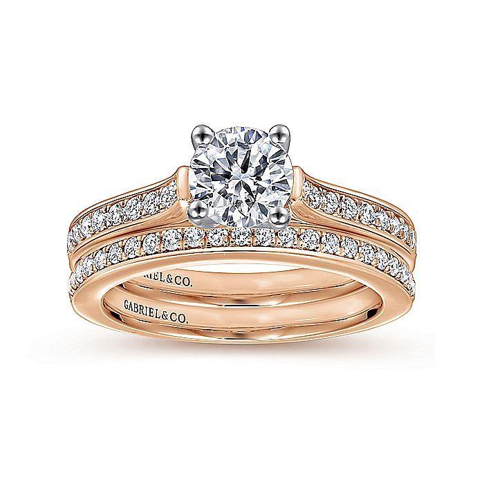 14K White-Rose Gold Round Diamond Engagement Ring