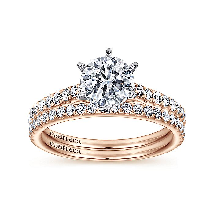 14K White-Rose Gold Round Diamond Engagement Ring