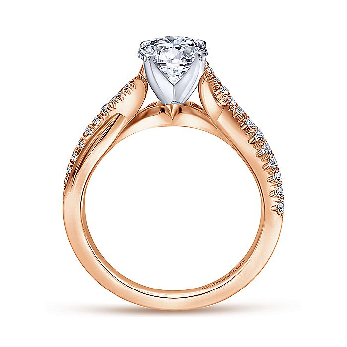 14K White-Rose Gold Round Diamond Twisted Engagement Ring