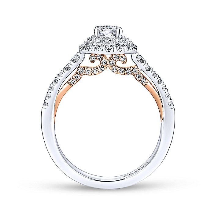 14K White-Rose Gold Round Double Halo Complete Diamond Engagement Ring